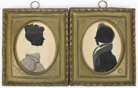 Pair of ca 1830 James HosleyWhitcomb Silhouettes