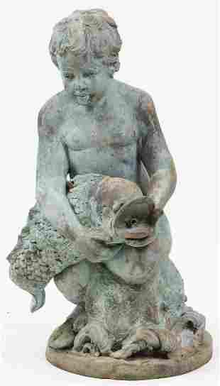 Cast Bronze Garden Fountain With Cherub