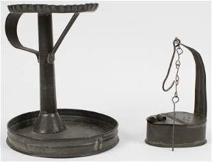 19th c Saucer Base Tin Lamp Stand and Lamp