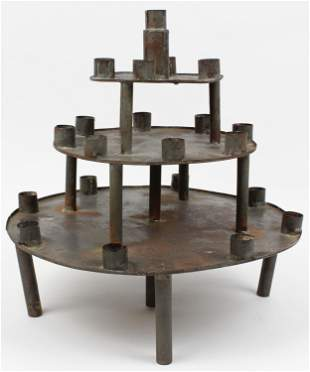 19th c Tin Centerpiece Candle Holder