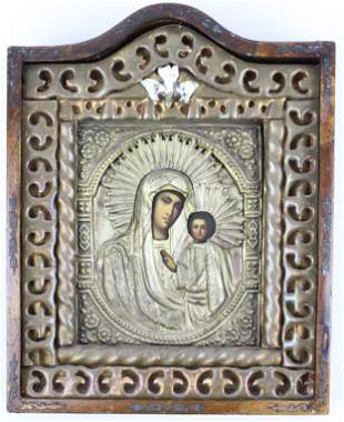 Ca 1900 Russian Icon with Madonna and Child
