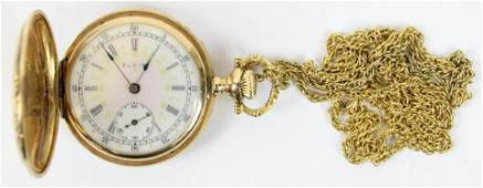 14k yellow gold ladies hunter case pocket watch