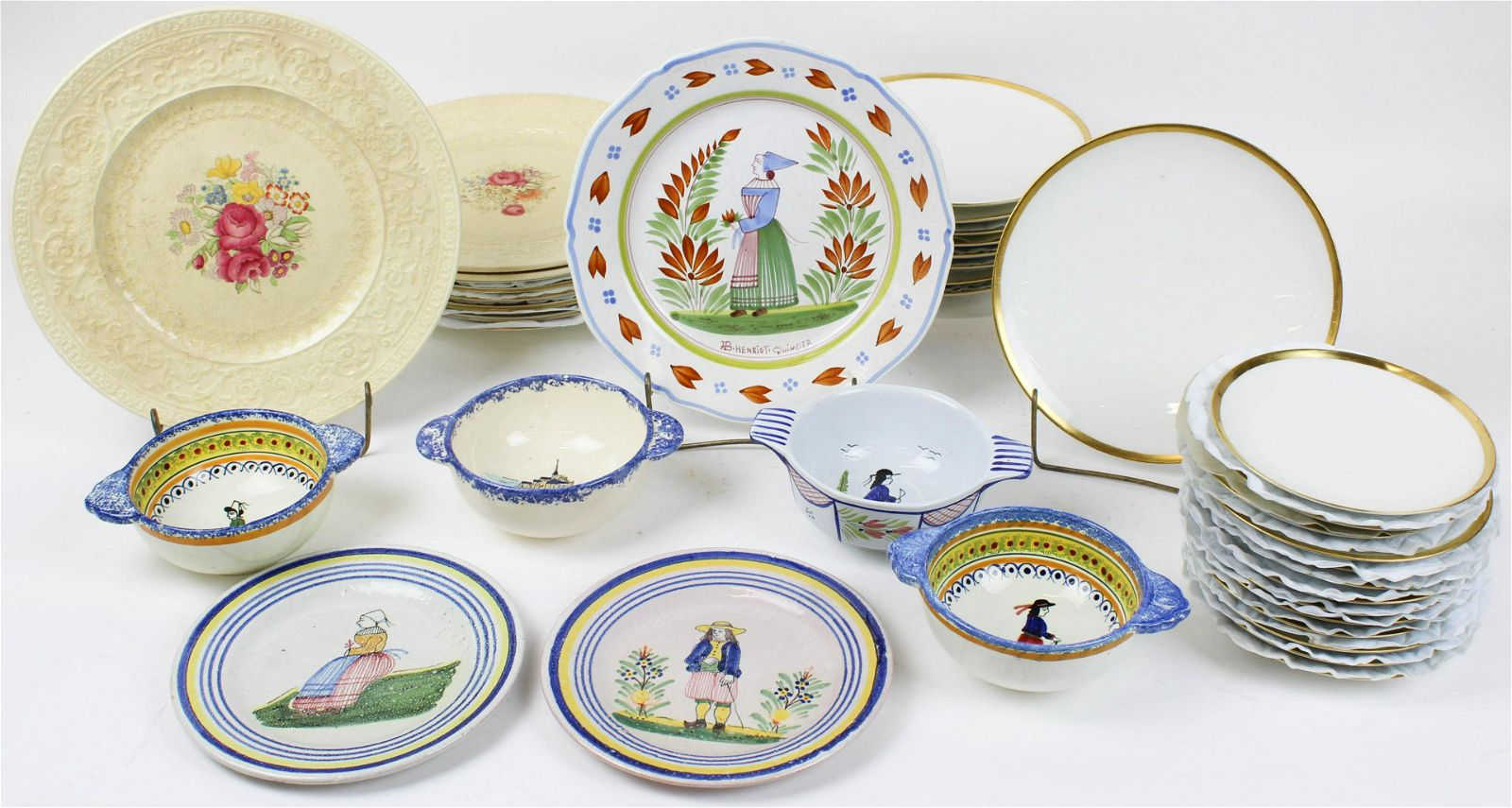 Group of Mixed China Incl. Limoges, Quimper