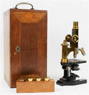 Lietz Wetzler Cased Brass Microscope