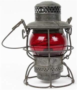 B & O Railroad Lantern with Red Shade