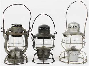 3 Vintage Railroad Lanterns incl 2 Signed