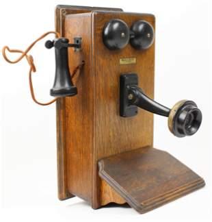 Western Electric Oak Hand Crank Wall Telephone