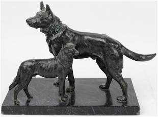 Cast White Metal Figural Group of Two Dogs