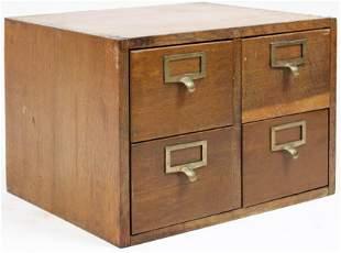 Small ca 1920 Four Drawer Oak File Box
