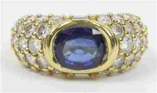 3 ct Sapphire & Diamond l8k Ladies ring