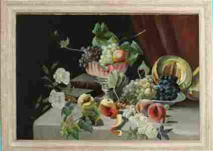 19th c American School Still life with Fruit