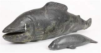 Inuit Carved Stone Sculptures of Fish, Whale