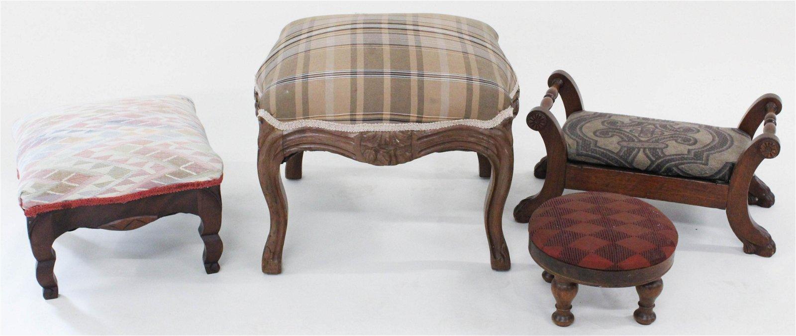 Group of 4 Decorative Walnut Footstools