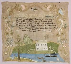 Pene Plum's 1786 American needlework sampler