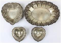 4 Victorian Repousse Sterling Silver Dishes