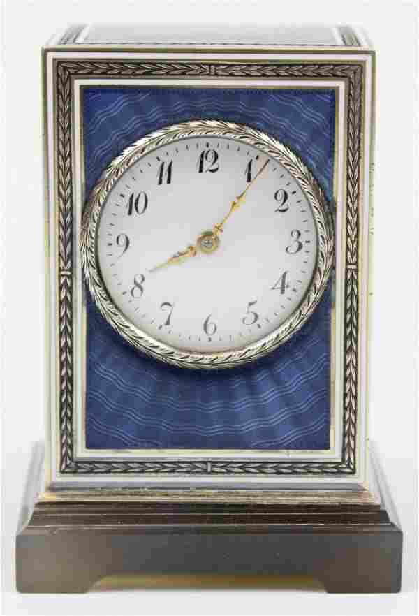Fine Silver, Agate, Enamel, Cased, Travel Clock.