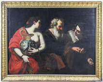 School of Caravaggio (It 17th c) Lot and His Daughters