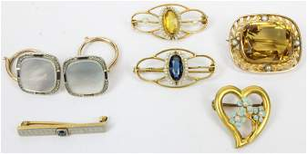 A group of Gold Victorian Pins & Cufflinks