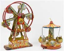 Tin Litho Ferris Wheel and Carousel