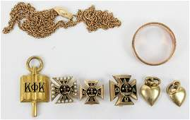 Mixed 10k Gold Fraternal Jewelry and Band