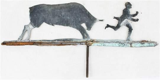 Early 20th c Sheet Iron Charging Bull Weathervane