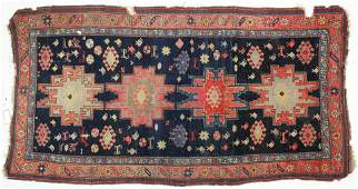 Antique Kazak Tribal 4 Medallion Oriental Rug