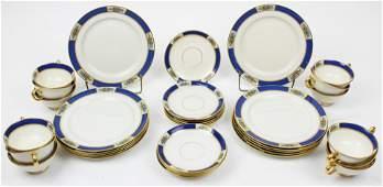 36 pcs Lenox Blue Banded Art Deco Dinnerware