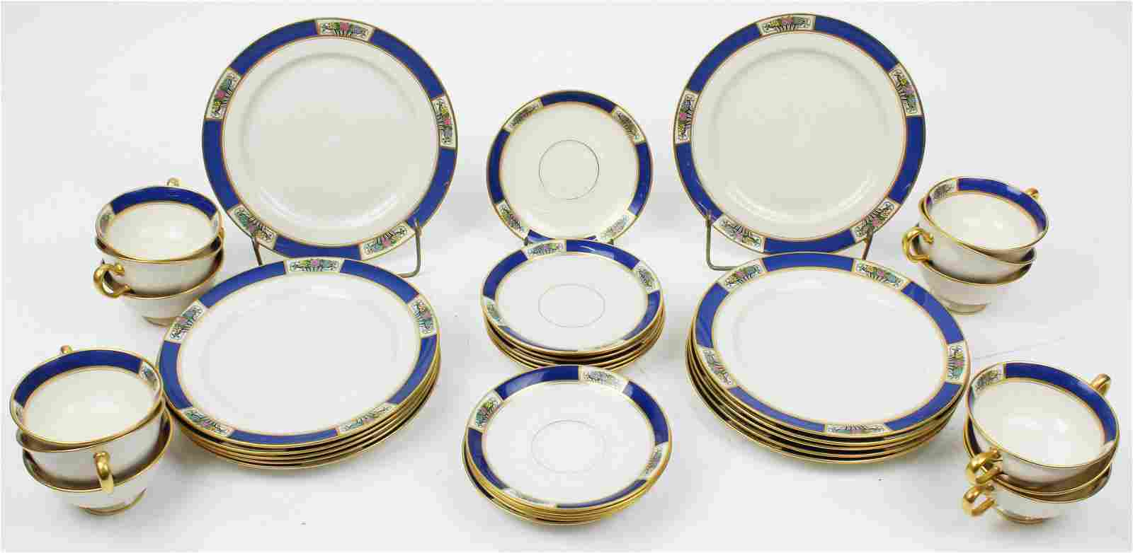 36 pcs. Lenox Blue Banded Art Deco Dinnerware