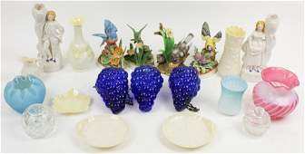 Lot of Glass and China incl Belleek Lladro