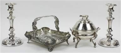 4 pcs Ornate Victorian Silverplate Hollowware