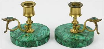 Russian Gilt Brass and Malachite Candlesticks