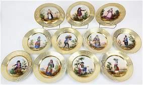 11 Paris Porcelain Costume Portrait Plates
