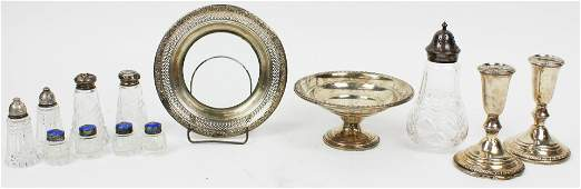 Group of Sterling Silver and Cut Glass Tableware