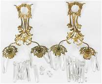 Pair of Gilt Brass Candle Sconces with Prisms