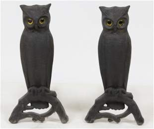 Pair of Cast Iron Figural Owl Glass Eyed Andirons