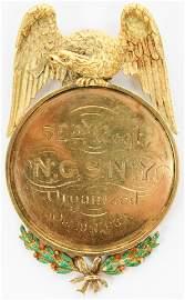 52nd Regt NGSNY Gold Presentation Badge