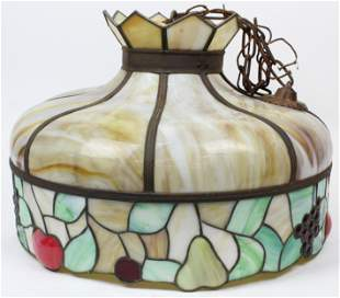 Stained Glass and Slag Panel Hanging Lamp