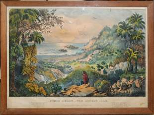 """Currier and Ives """"Enoch Arden-The Lonely Isle"""""""