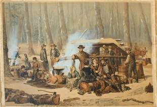 """Currier and Ives """"Forest Scenes - Maple Sugaring"""""""