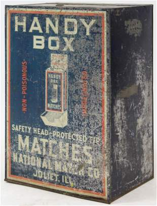 Handy Box Tin Litho Match Display Case