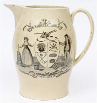 The Farmers Arms 19th c. Creamware Pitcher