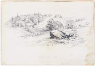 19th c Pencil Drawing of Williamstown, VT