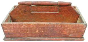 19th c Grain Paint Decorated Knife Box