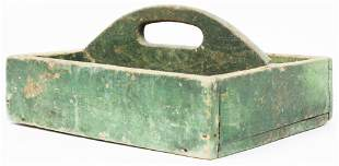19th c Knife Box in Old Green Paint