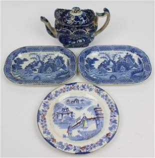 4 pcs. 19th c. Transfer Decorated Porcelain