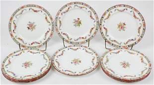 10 Minton Rose Porcelain Luncheon Plates