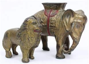 Cast Iron Circus Elephant, Lion Still Banks