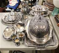 Large Group of Silverplated Hollowware
