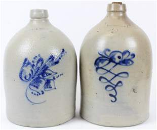 Two 19th c Blue Decorated Jugs