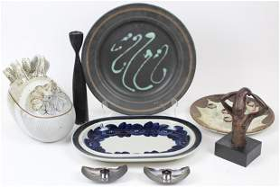 Group of Mid Century Art Pottery and Accessories